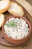 Pate of smoked fish with sour cream, dill and toasted bread Stock Photography