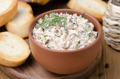 Pate of smoked fish with sour cream and herbs, close-up royalty free stock photo