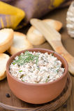 Pate of smoked fish with sour cream, herbs and toasts, vertical Royalty Free Stock Photography