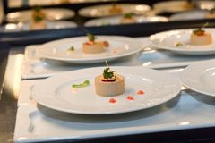 Pate starter in a restaurant kitchen, catering business stock photography