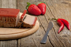 Pate with strawberry jally Stock Photos