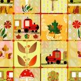 Patechwork无缝的孩子样式火车纹理背景 免版税图库摄影