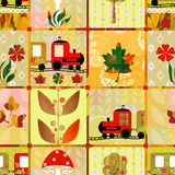Patechwork seamless kids pattern train texture background Royalty Free Stock Photography