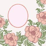 Patel tender flower hand drawn illustration with. Patel tender flower hand drawn art illustration with openwork frame Royalty Free Stock Images