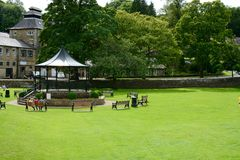 Pateley Bridge. Park and bandstand area in the market town of , Nidderdale, North Yorkshire, UK Stock Photos