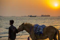 A horse riding instructor boy searching her clients on Patenga beach, Chittagong, Bangladesh. Patenga is a sea beach located 14 kilometres south of the port royalty free stock photo