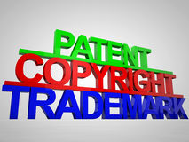 Patent Copyright Trademark. Colorful as 3D Stock Image