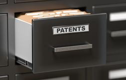 Patent files and documents in cabinet in office. 3D rendered illustration.  Stock Images