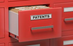 Patent files and documents in cabinet in office. 3D rendered illustration.  Stock Photography
