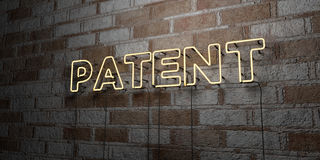 PATENT - Glowing Neon Sign on stonework wall - 3D rendered royalty free stock illustration Royalty Free Stock Images