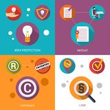 Patent Idea Protection. Design concept set with copyright and law flat icons isolated vector illustration Royalty Free Stock Photography