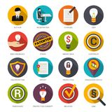 Patent Idea Protection Icons. Patent idea protection flat icons set with author trademark copyright symbols isolated vector illustration Royalty Free Stock Image