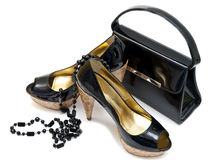 Patent leather shoes and bag Royalty Free Stock Photography