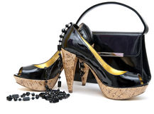 Patent leather shoes and bag Stock Image