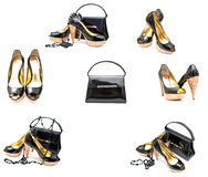 Patent leather shoes and bag stock images