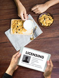 Patent License agreement LICENSING   business man hand working o Royalty Free Stock Image