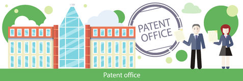 Patent Office Concept in Flat Design Royalty Free Stock Photography