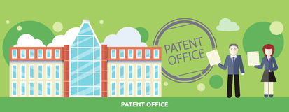 Patent Office Concept in Flat Design. Attorneys patent agents man and woman holding certificates of invention. For web banners, promotional materials Royalty Free Stock Photo