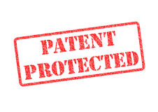 PATENT PROTECTED. Red rubber stamp over a white background Stock Photography