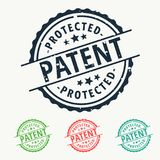 Patent protected rubber stamp badge set. Vector Stock Photos