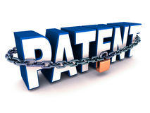 Patent. Word in chains, locked down on white background, concept of safety of technique, design and product by international s Royalty Free Stock Photo