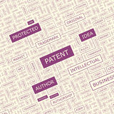 PATENT. Word cloud concept illustration. Wordcloud collage Stock Photo