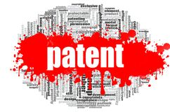 Patent word cloud. Concept on white background, 3d rendering Royalty Free Stock Photography