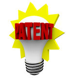 Patent Word on Light Bulb. The word Patent in red letters on a light bulb Royalty Free Stock Photography