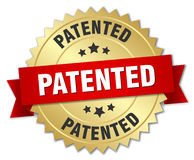 Patented 3d gold badge. With red ribbon Stock Image