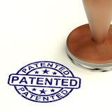 Patented Stamp Showing Registered Patent Or Trademarks. Patented Stamp Showing Registered Patent Or Trademark Stock Photography