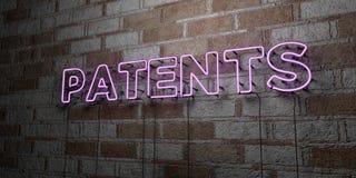 PATENTES - Sinal de néon de incandescência na parede da alvenaria - 3D rendeu a ilustração conservada em estoque livre dos direit Imagem de Stock Royalty Free