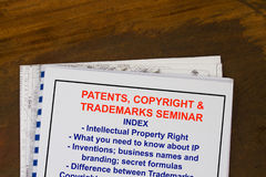 Patents, copyright and trademark. Seminar- complete with index of topic Royalty Free Stock Photo