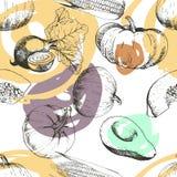 Patern вектора безшовное овощей Тыква, мозоль, бурак, авокадо Стоковое Фото