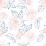 Patern вектора безшовное роз Иллюстрация нарисованная рукой выгравированная винтажная Стоковое Изображение
