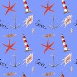 Patern вычерченной акварели руки безшовное с маяком, морскими звёздами и раковинами иллюстрация вектора