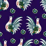 Patern cock. Decorative traditional patters set - paper catouts style isolated on blue Stock Illustration