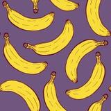 Patern inconsútil Handdrawn con el plátano ilustración del vector