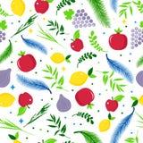 Patern sans couture de vacances heureuses de Sukkot Vacances juives Sukkot Nouvelle année juive Autumn Fest Rosh Hashana Israel S illustration stock