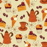 patern seamless sötsak för coffe Royaltyfria Foton