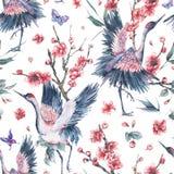 Patern senza cuciture dell'acquerello con la gru, reggiseno di fioritura dei fiori rosa illustrazione vettoriale