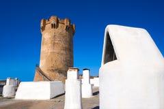 Paterna torn Valencia och lampglas av grottahus Arkivfoton