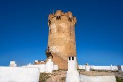 Paterna torn Valencia och lampglas av grottahus Arkivbilder