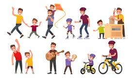 paternité Le père et le fils marchent, petit pain sur le rouleau et bicyclettes, pla Photos stock