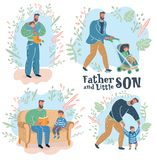 Paternity. Father and son. Vector cartoon illustration of Paternity. Father walk with son in stroll, read farytale, help to try walk, first steps toddler, give stock illustration