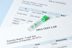 Paternity Test. Results report with lab sample test tube stock images