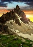 Paternkofel bij zonsondergang Stock Afbeeldingen