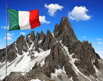 Paternkofel with Italy flag Stock Image