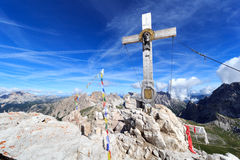 Paternkofel summit cross and Sexten Dolomites mountain panorama in South Tyrol Royalty Free Stock Photos