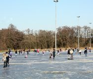 Skating on the ice rink. Paterswolde. March-02-2018. Ice skating on the ice rink in Paterswolde. The Netherlands Royalty Free Stock Images