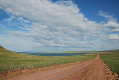 A path. This champaign landscape was shot in Eastern Siberia on a summer clear day Stock Photo